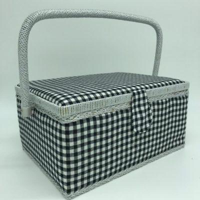 Large Sewing Box - Black Gingham - Franklins Group