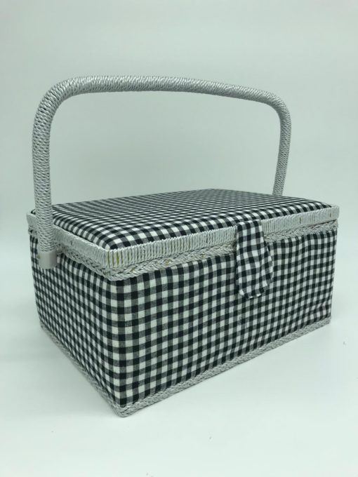 Large Sewing Box - Black Gingham - Franklins Group