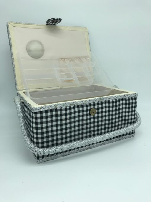 Large Sewing Box - Black and White Gingham - Franklins Group