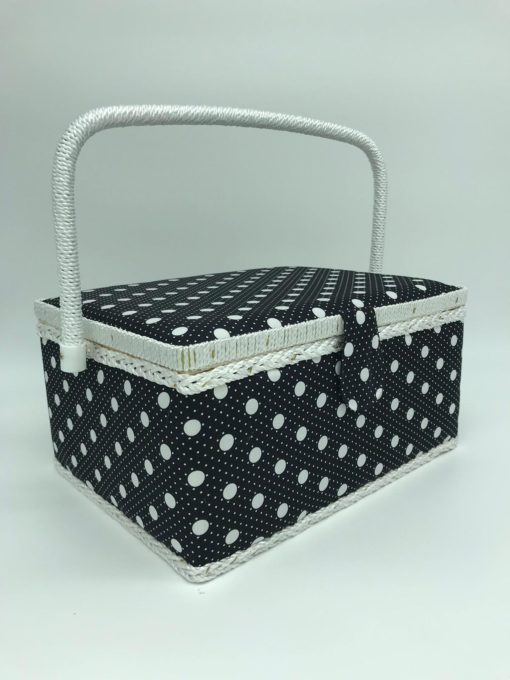 Large sewing box - Black with White Dots - Franklins Group