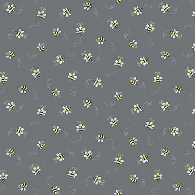 Makower Bumble Bee Grey 9715C